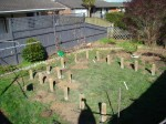 All the outer posts set for the raised beds with some of the internal posts now being set
