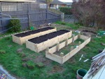 Raised Beds #1 and #2 with the initial amount of Garden Mix. Raised Bed #3 is still being finished (was finished the following weekend)