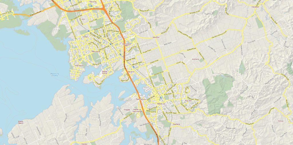 Area of the Southern Motorway where the corridor upgrade will happen