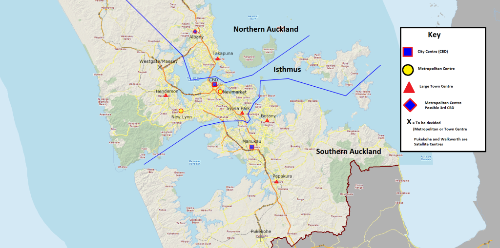 Dividing Auckland up into three sub regions allows to focus on the big regional picture more easily
