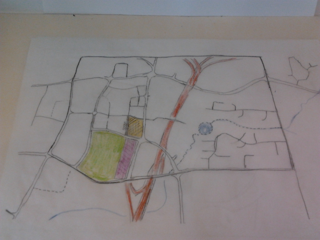 Base drawing of Manukau City Centre on tracing paper