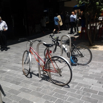 Bike stands in use at Fort Street