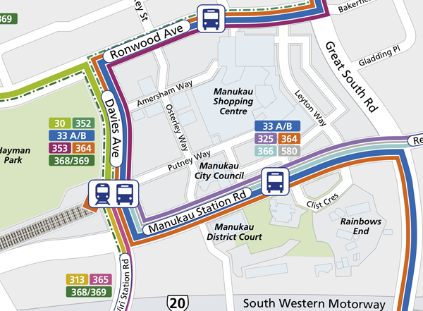 Bus Network through the Interchange. Note however that the route alters slightly to incorporate the interchange