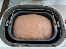 Hot Cross Bun mix coming out of breadmaker and heading to the oven