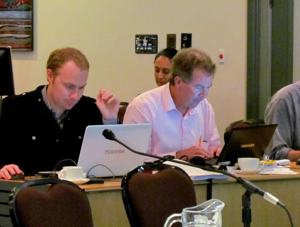 Myself and Radio NZ's Todd Nial hard at work reporting on the Budget Committee Photo Reference: Councillor Cathy Casey