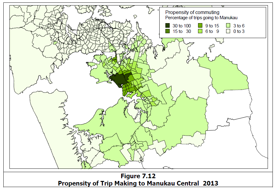 A lot of South Auckland commutes within itself to large industrial or commercial complexes like Wiri and Manukau City Centre Source: http://www.scribd.com/doc/236566739/Richard-Paling-Report-Transport-Patterns-in-the-Auckland-Region#page=88