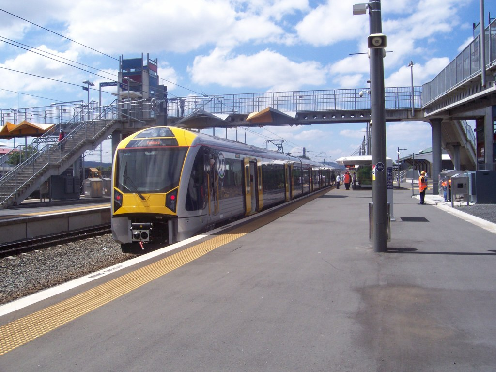 Papakura and thus the Southern Line's first passenger carrying electric train 3 car set now at Papakura Station ready to go