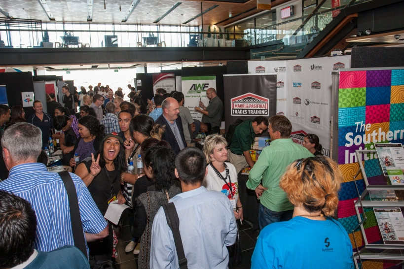 Minister of Business, Innovation and Employment Steven Joyce and Mayor Len Brown joined the throng of unemployed young people from across Auckland who attended JobFest15 to find work. Source: Auckland Council