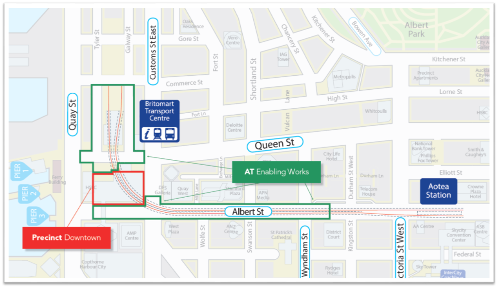C1, C2, DSC, stage, map, drawing, Britomart, Aotea, Station, CRL Source: Auckland Council