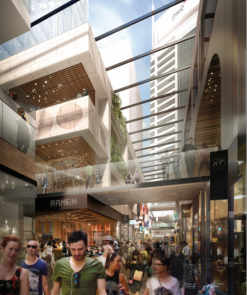 Precinct Property Tower laneway impression Source: https://nzx.com/files/attachments/208673.pdf