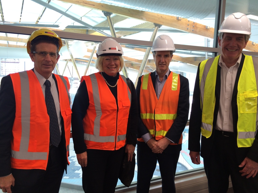 (L-R) Cr Calum Penrose, Cr Christine Fletcher, General Manager Regional & Specialist Parks Mace Ward, General Manager Parks, Sports and Recreation Ian Maxwell visit the Ōtāhuhu Recreation Precinct (construction site) following the meeting of the Parks, Recreation and Sport Committee meeting on 9 June 2015. Source: Auckland Council