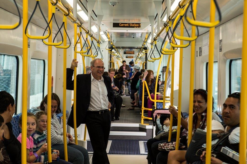 Mayor Len Brown enjoying Auckland's new electric trains. Source: Auckland Council