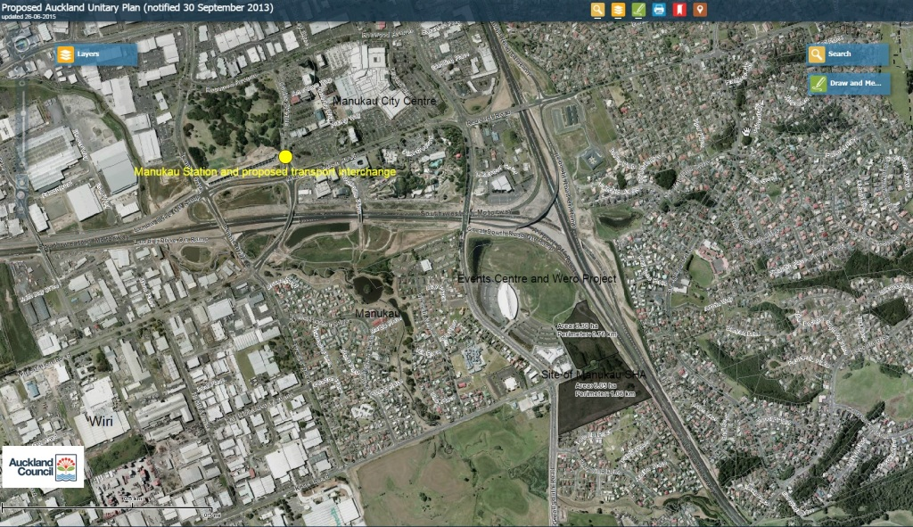 Manukau SHA site and in comparison to where it is