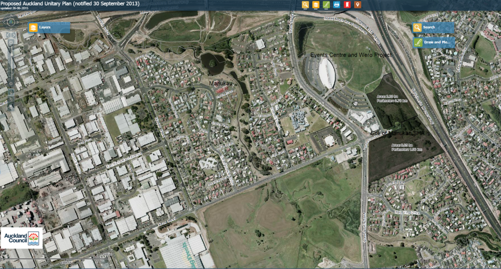 Manukau SHA site and in comparison to where it is from the southern end