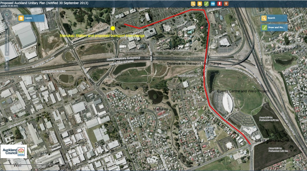Manukau SHA site and in comparison to where it is and the distance to the Manukau Rail Station and proposed bus interchange (1.7km approx)