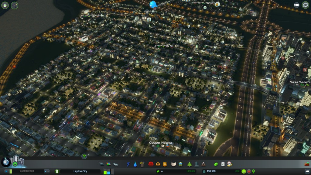 Suburbia at night