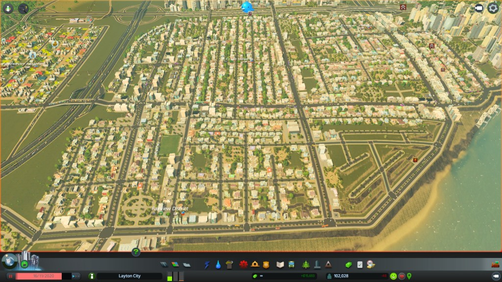 Suburbia with a tourist district being built