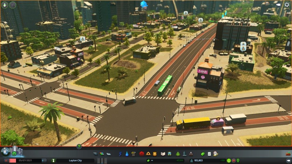Some variations of the roads with bus/taxi lanes in the Night Club district.