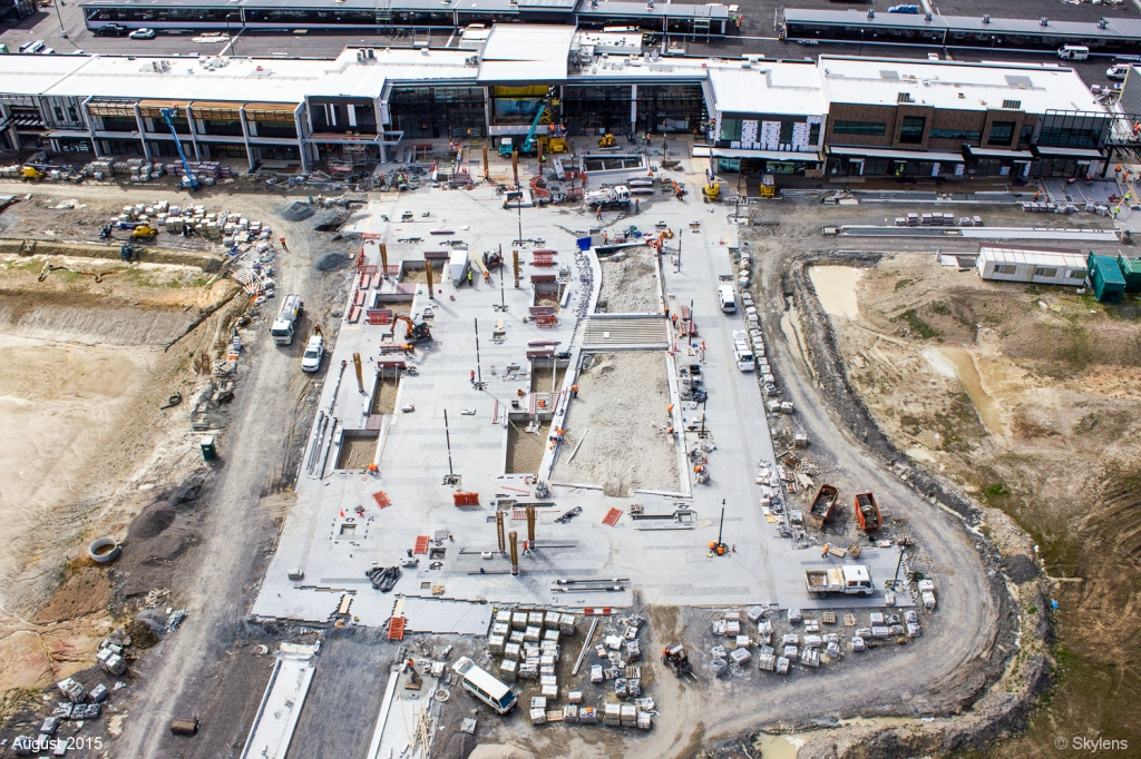 Caption: Construction of the new town square ready for the opening of the NorthWest Shopping Centre.