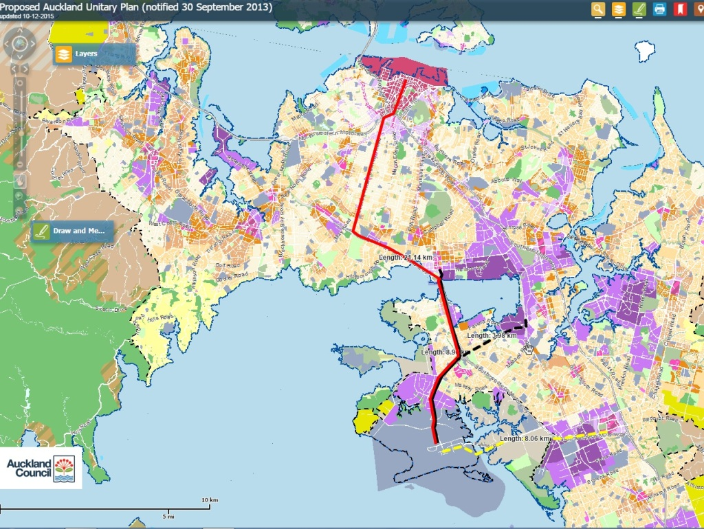 Airport Line Comparison  Red = LRT proposal by Auckland Transport Black  = Heavy Rail Route proposal Black dash = Via Mangere route to Airport instead of Onehunga Yellow = LRT to Manukau as part of Botany Line