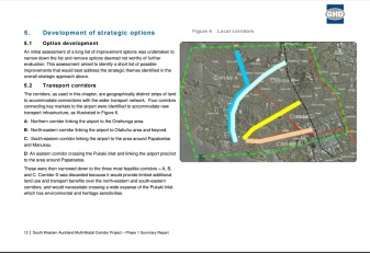 The four corridor options. The Rail Loop is both Options A and C would form the heavy rail loop Source: https://www.scribd.com/doc/297825474/Airport-Rail-Jan-16-OIA-Response-from-Auckland-Transport