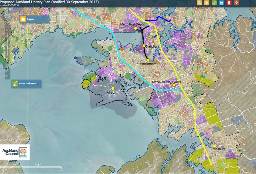 South Auckland bottleneck Black = rail line Blue = SE Highway Yellow = Southern Motorway Cyan = SH20