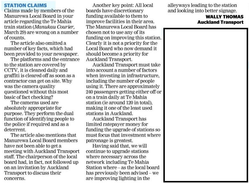 Auckland Transport responds to Manurewa Local Board Chair over Te mahia Station http://manukaucourier.realviewdigital.com/#folio=6