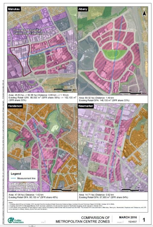 Manukau Metro comparison Source: Evidence to the Unitary Plan