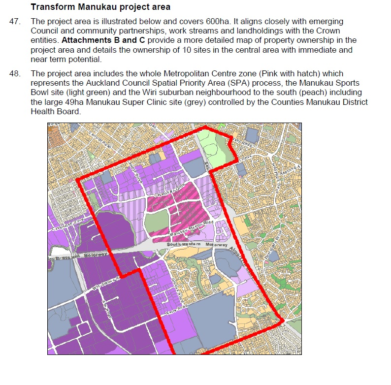 Manukau Transform Project area Source: Panuku Development Auckland