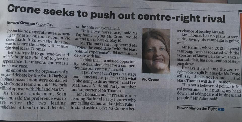 Crone wont debate Source: NZ Herald