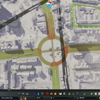A roundabout with tram lines flowing well