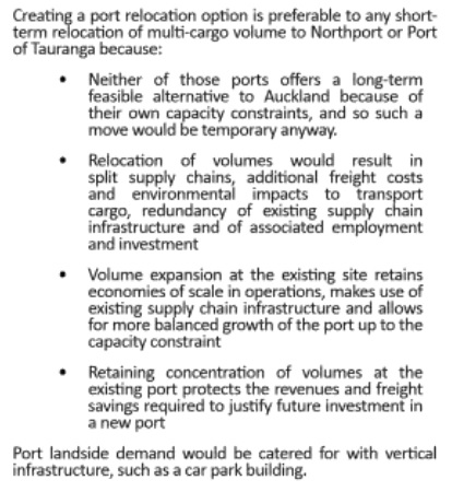 North Port and Port of Tauranga ruled out Source: Port Future Study - page 22