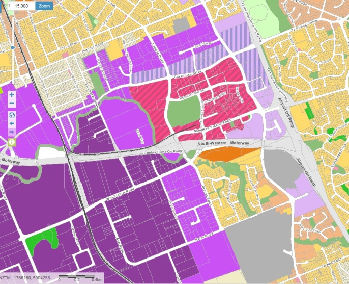 Unitary Plan recommended Manukau (and implemented) Metro Zone in dashed pink