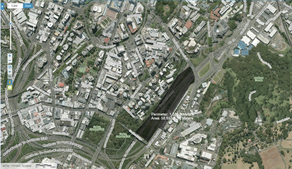 Grafton Gully and its motorway severance  Source: Geo Maps Auckland Council