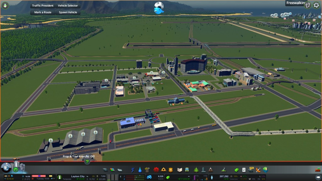 Building a new Centre and surrounding urban area in Cities Skylines
