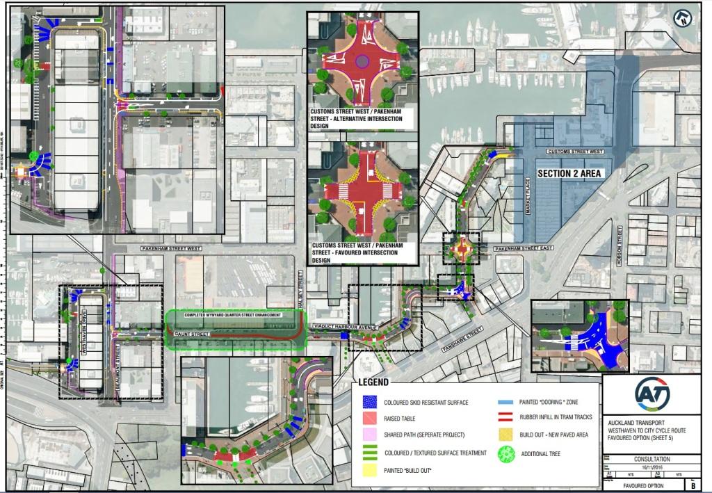 Wynyard Quarter cycle proposal Source: Auckland Transport