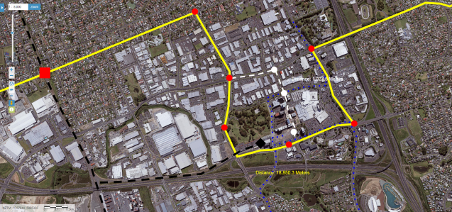 A2B (Yellow) with LRT stations (red), potential central Manukau detour, bus routes and Manukau Bus/Rail Station