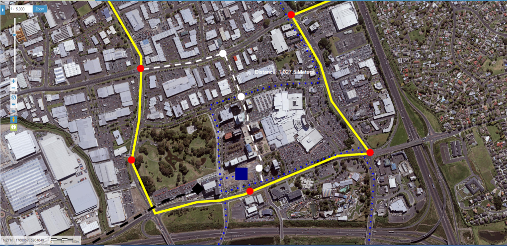 The Southern Airport Line through Manukau City Centre. Black - Heavy Rail, Blue = busses, Grey = possible LLRT route