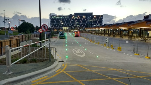 Manukau Bus Station concourse with LED cats eyes