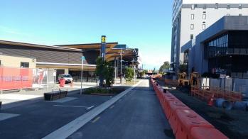 Manukau Bus Station looking down Putney Way towards the rail station