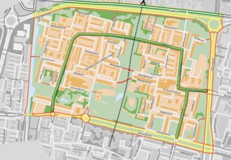 For people cycling the neighbourhood is much better accessible. All the red lines are separate cycle paths and short cuts. The latter can also be used by emergency services but not by normal motor traffic. The black dotted line represents a proposed new main cycle route completely away from motor traffic. (Base picture: map from the cycle route planner of the Dutch Cyclists' Union.) https://bicycledutch.wordpress.com/2013/08/08/making-a-1960s-street-grid-fit-for-the-21st-century/