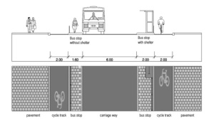 Street profile design for the neighbourhood ring at bus stops. (Picture Utrecht municipality) Source: https://bicycledutch.wordpress.com/2013/08/08/making-a-1960s-street-grid-fit-for-the-21st-century/