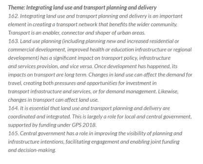 Integrated Land use/Transport Planning in the GPS. Source: NZ Government