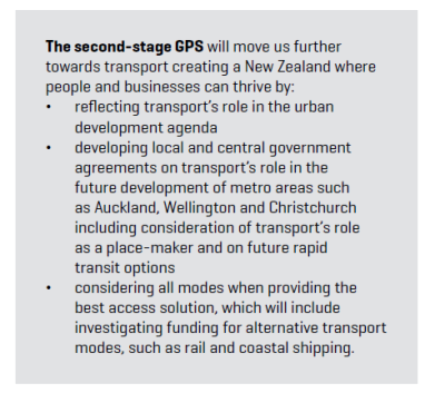 Second Stage GPS that includes more on rail and also Coastal Shipping Source: New Zealand Government