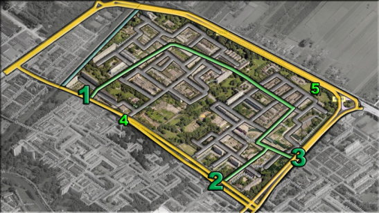 The new grid with the neighbourhood ring in green. In grey the 30km/h streets. Number 1, 2 and 3 indicate the main points where traffic can get from the arterial roads to the neighbourhood ring. Number 4 is the blockade that was cancelled. Number 5 is the blockade that is planned to be implemented at a later stage. There are no other points where motor traffic can access the neighbourhood. Source: https://bicycledutch.wordpress.com/2013/08/08/making-a-1960s-street-grid-fit-for-the-21st-century/